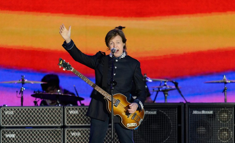 British singer Sir Paul McCartney performs on stage during the Queen's Diamond Jubilee Concert at Buckingham Palace in London on June 4, 2012. Britain's Queen Elizabeth II made a regal appearance at a star-studded diamond jubilee concert Monday but without her husband Prince Philip at her side after he was hospitalized hours earlier. (Leon Neal/AFP/Getty Images)