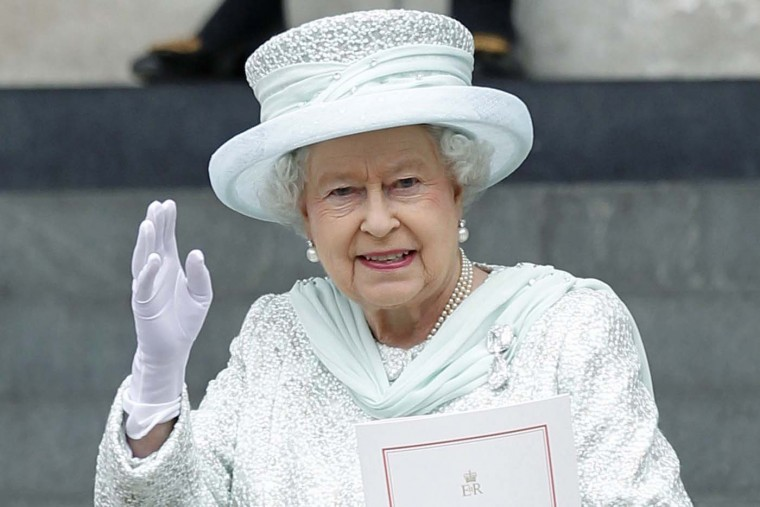 Britain's Queen Elizabeth II waves as she leaves St. Paul's Cathedral after a service of thanksgiving for the Queen's Diamond Jubilee at in London on June 5, 2012. (Ian Kingtonian/AFP/Getty Images)