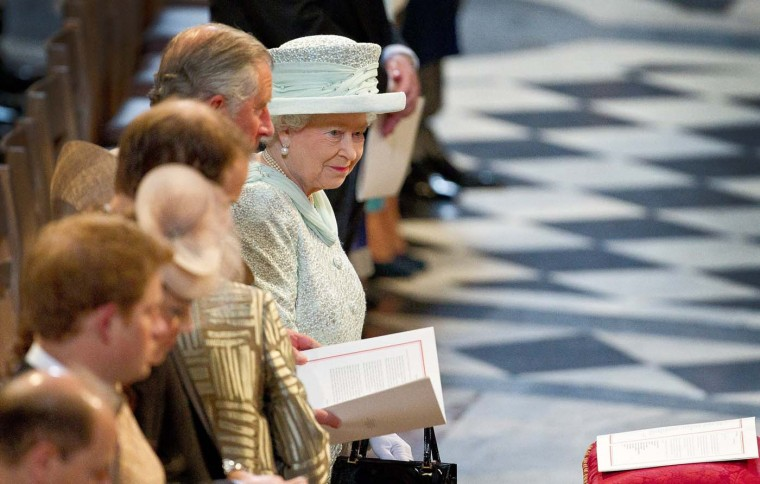 Britain's Queen Elizabeth II attends a service of thanksgiving at St. Paul's Cathedral in London, in honour of her Diamond Jubilee, on June 5, 2012. (Joel Ryan/AFP/Getty Images)