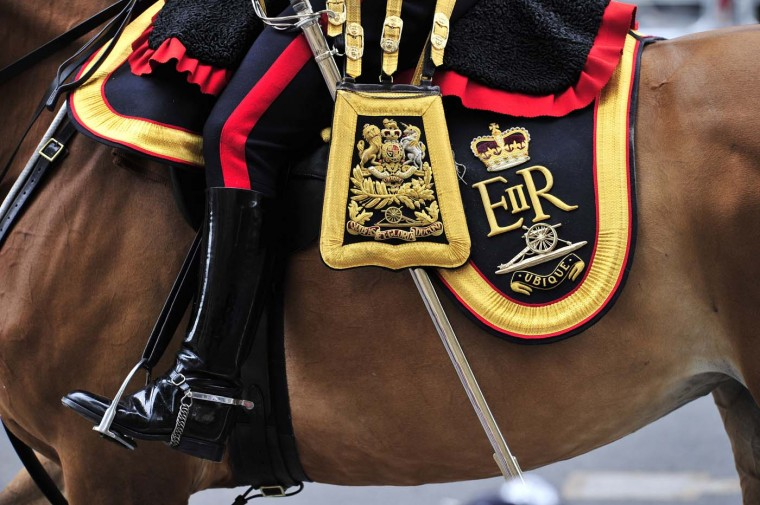 Britain's Kings Troop Royal Artillary join the carriage procession from Westminster Hall to Buckingham Palace to celebrate the Queen's Diamond Jubilee in London on June 5, 2012. (Glyn Kirk/AFP/Getty Images)