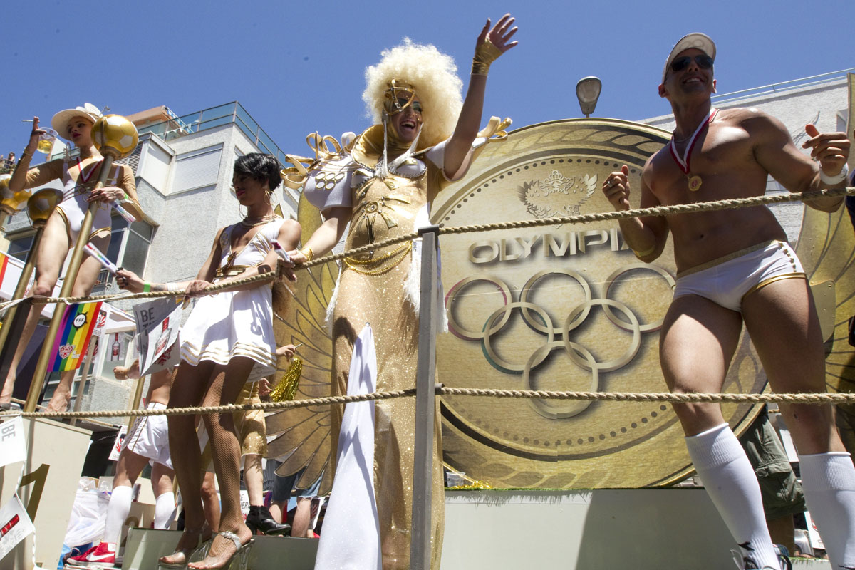 Tel Aviv: Israeli drag queens and gogos dancers dance on a truck during the opening of the annual Gay Pride parade in the Mediterranean city on June 8, 2012. (Jack Guez/AFP/Getty Images)