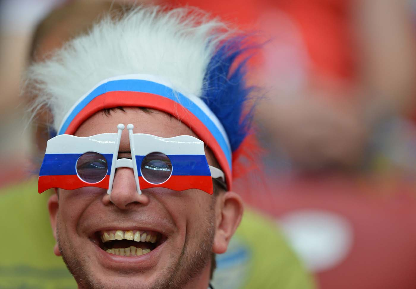 A Russian supporter is pictured prior to the Euro 2012 championships football match Poland vs Russia on June 12, 2012 at the National Stadium in Warsaw. (Gabriel Bouys/AFP/Getty Images)