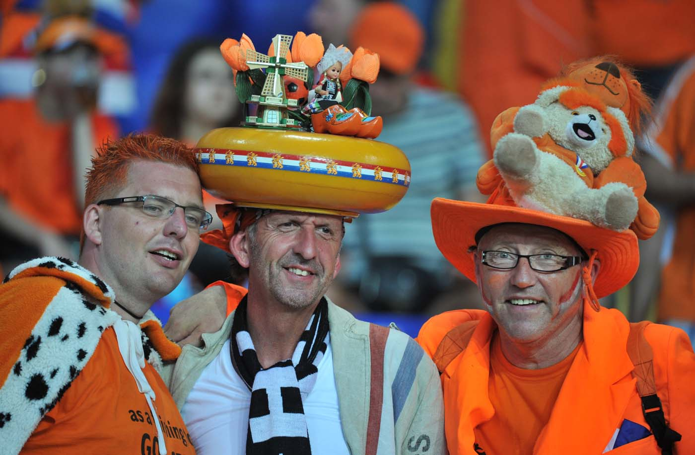 Disguised fans of the Netherlands' national football team pose prior to the Euro 2012 championships football match the Netherlands vs Germany on June 12, 2012 at the Metalist Stadium in Kharkiv. (Genya Savilov/AFP/Getty Images)