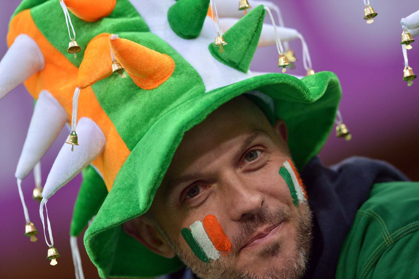 An Irish supporter is pictured prior to the Euro 2012 championships football match Spain vs Republic of Ireland on June 14, 2012 at the Gdansk Arena. (Gabriel Boys/AFP/Getty Images)