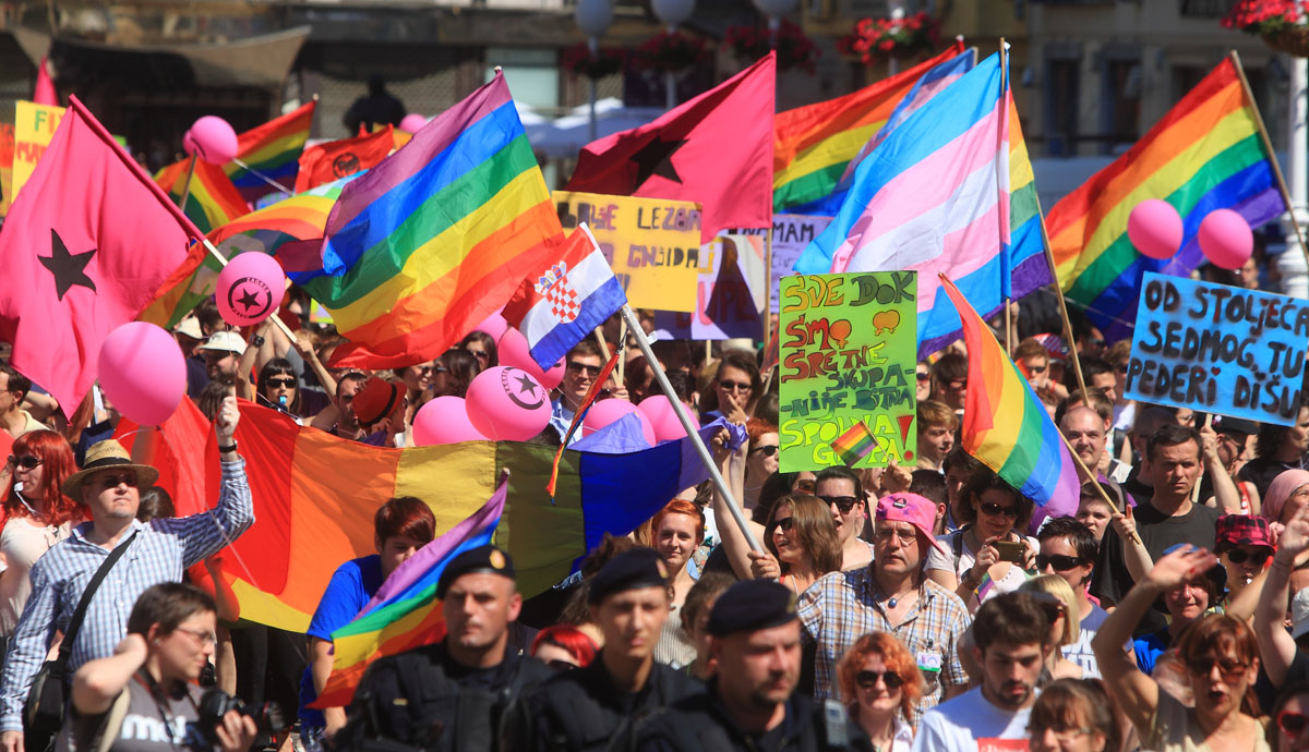 Zagreb: Participants take part on June 16, 2012 in a Gay Pride parade. Some 2,000 people took part on June 16 in a gay-rights march on Croatia's capital, calling on the government to boost the rights of same-sex couples in the largely conservative EU-bound country. (Stringer/AFP/Getty Images)