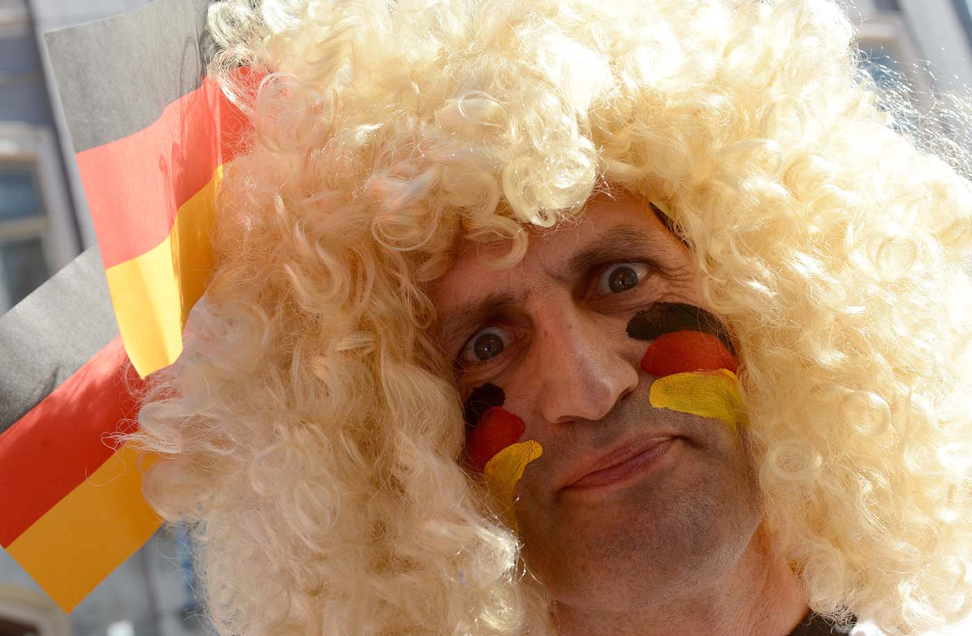 A German fan is pictured on June 17, 2012 in Lviv, ahead of the Euro 2012 football championships match Denmark vs. Germany. (Patrik Stollarz/AFP/Getty Images)