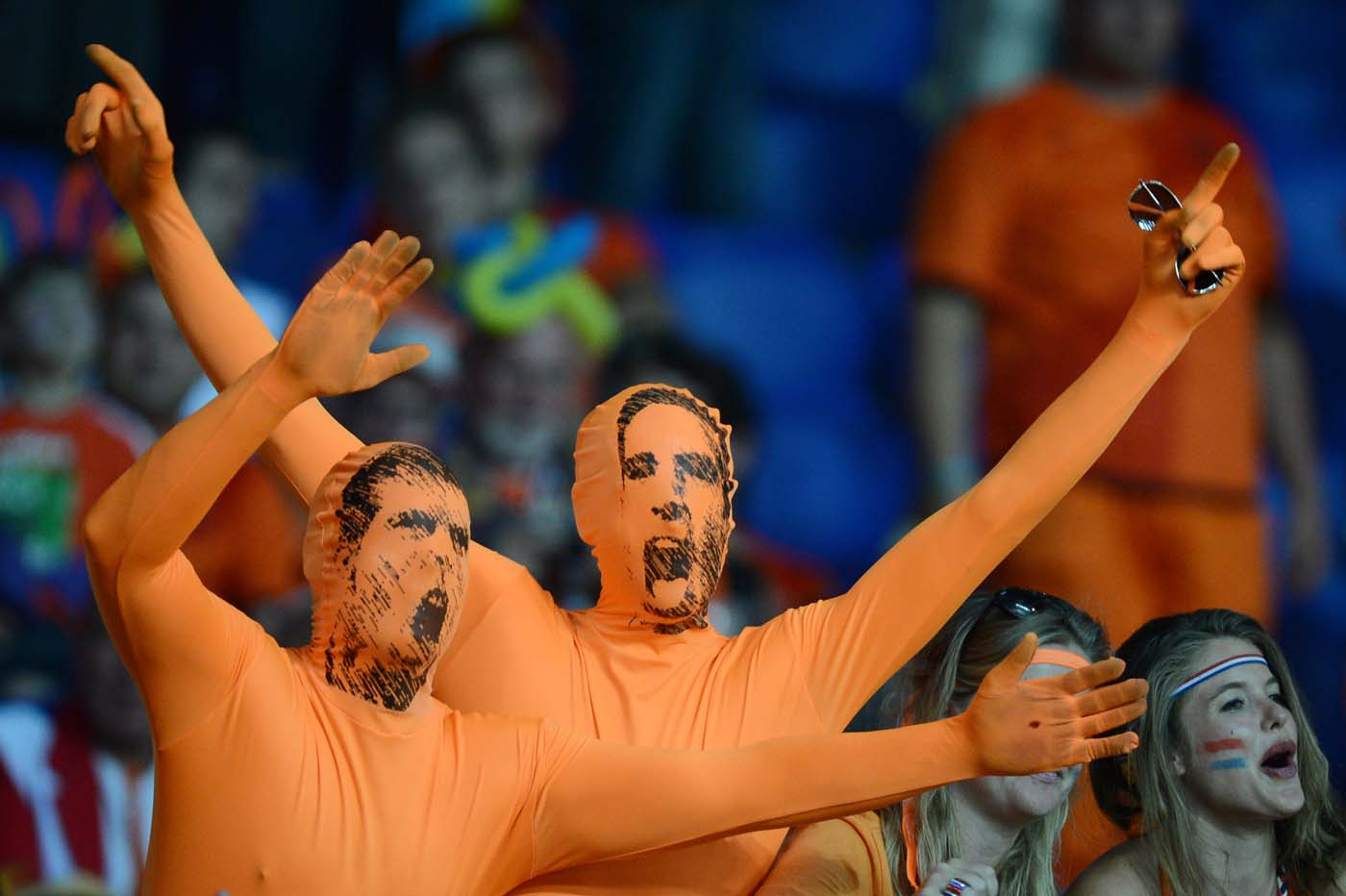 Fans from Netherlands cheer prior to the begining of the Euro 2012 football championships match Portugal vs. Netherlands, on June 17, 2012 at the Metalist stadium in Kharkov. (Patrick Hertzog/AFP/Getty Images)