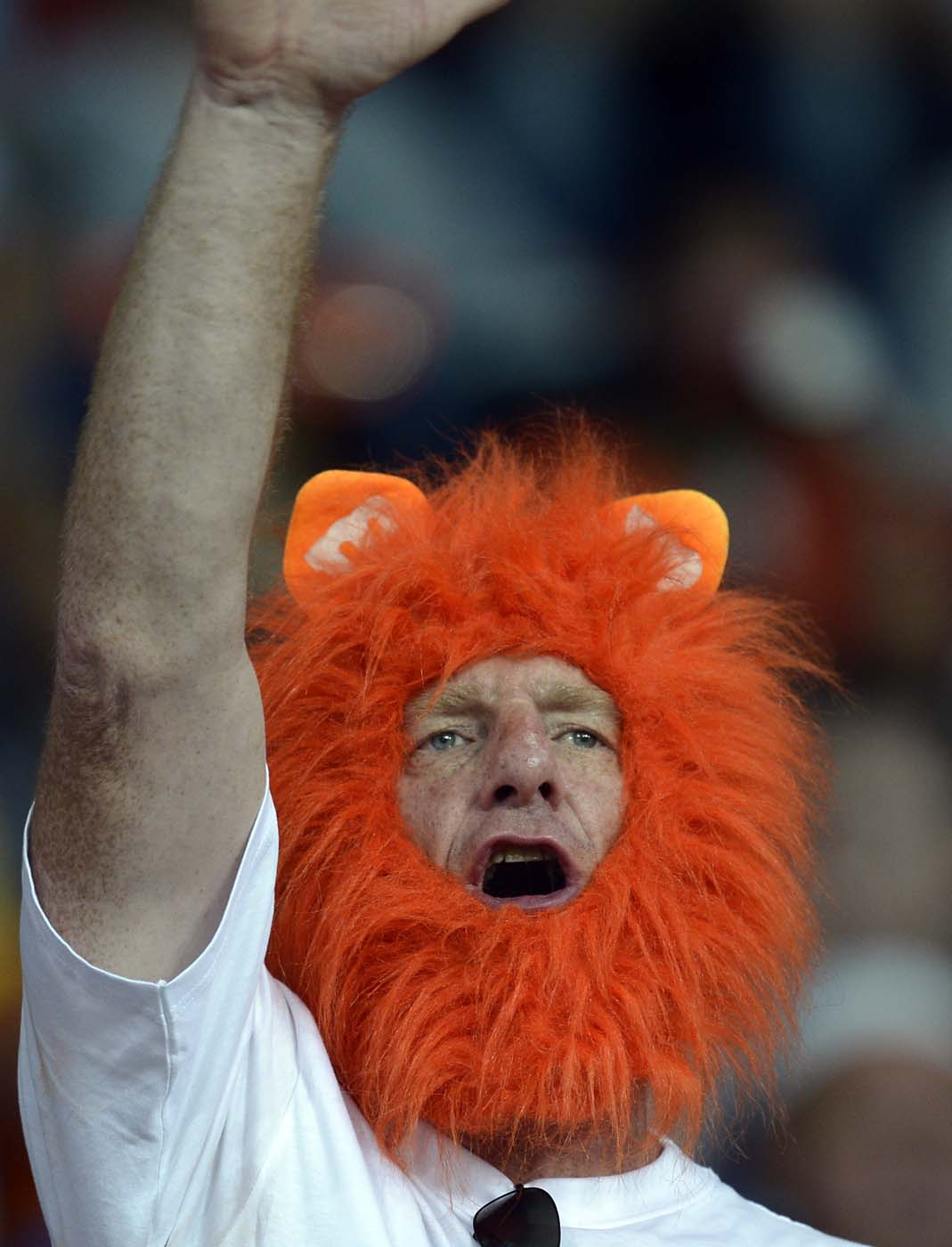 A Fan from Netherlands cheers prior to the begining of the Euro 2012 football championships match Portugal vs. Netherlands, on June 17, 2012 at the Metalist stadium in Kharkov. (Filippo Monteforte/AFP/Getty Images)