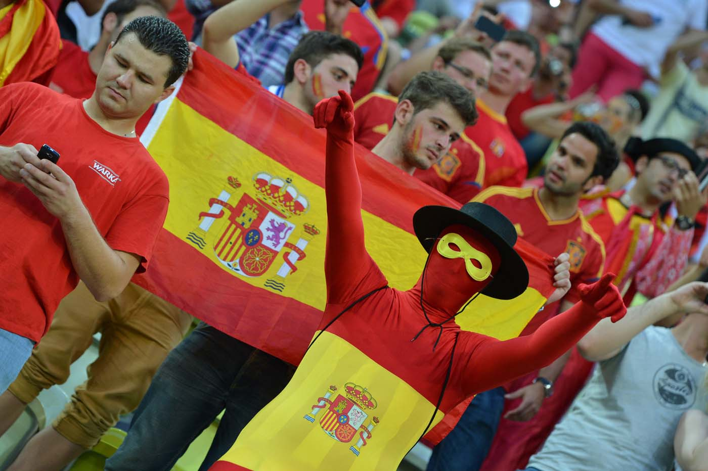 Fans of Spain's national football team react ahead of the Euro 2012 football championships match Croatia vs Spain on June 18, 2012 at the Gdansk Arena. (Gabriel Bouys/AFP/Getty Images)