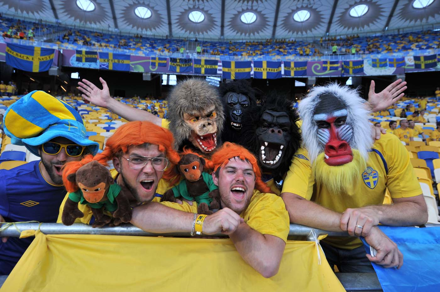 Swedish fans pose before the Euro 2012 football championships match Sweden vs France on June 19, 2012 at the Olympic Stadium in Kiev. (Genya Savilovgenya/AFP/Getty Images)