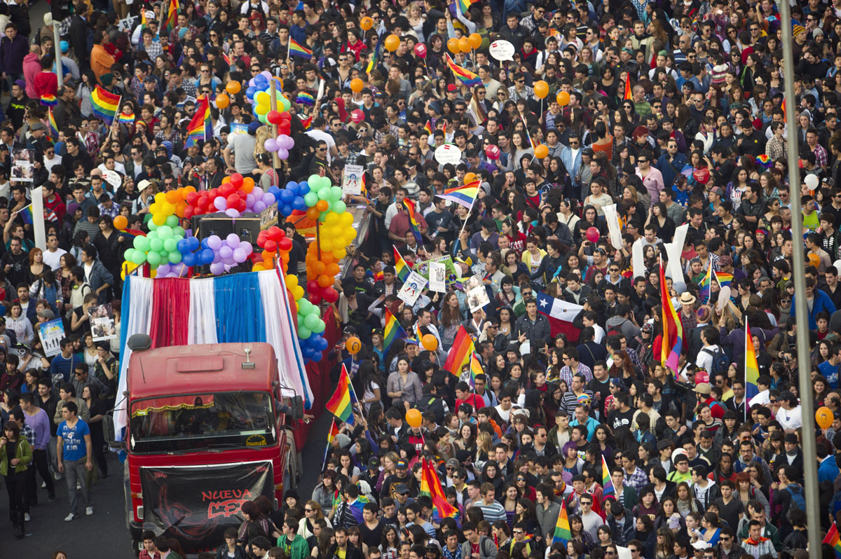 Santiago: Thousands of people take part in a demonstration for a law for equal rights of the gay, lesbian and transsexual community on June 23, 2012. (Martin Bernetti/AFP/Getty Images)