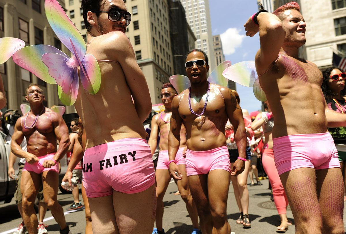 New York: Marchers walk down 5th Avenue during the 2012 New York Gay Pride parade on June 24, 2012. The 43rd-annual parade with more than 500,000 people is part of Gay Pride week. (Timothy A. Clary/AFP/Getty Images)