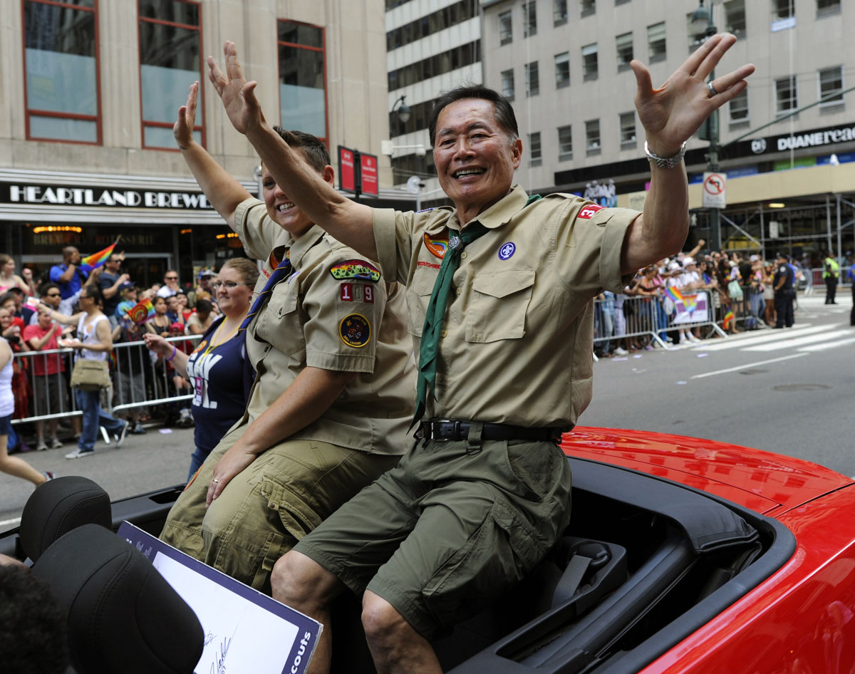 New York: Actor George Takei rides down 5th Avenue during the 2012 New York City's Gay Pride June 24, 2012. The 43rd-annual parade with more than 500,000 people is part of gay pride week. (Timothy A. Clary/AFP/Getty Images)