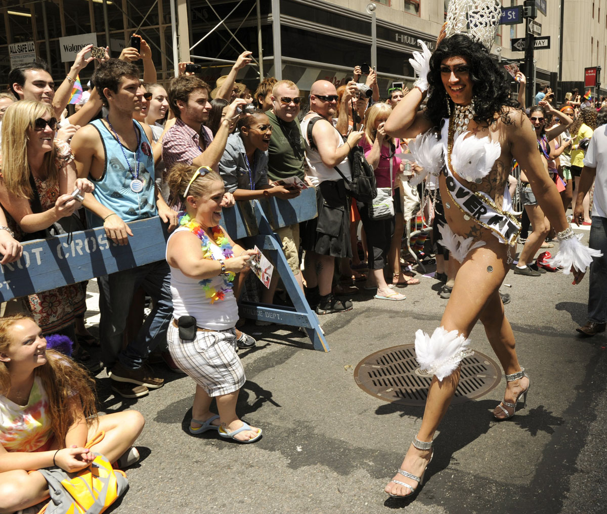 New York: A marcher walks down 5th Avenue during the 2012 New York Gay Pride parade on June 24, 2012. The 43rd-annual parade with more than 500,000 people is part of Gay Pride week. (Timothy A. Clary/AFP/Getty Images)