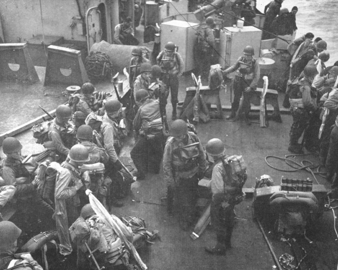 Troops with the 29th Infantry Division aboard the transport en route to Normandy on D-Day. (Holbrook Bradley/Baltimore Sun)