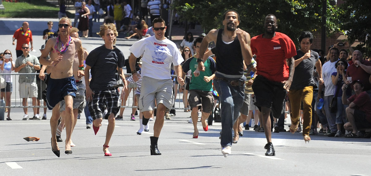 Baltimore: The High Heel race kicks off the parade along Charles Street June 16, 2012. (Lloyd Fox/Baltimore Sun)