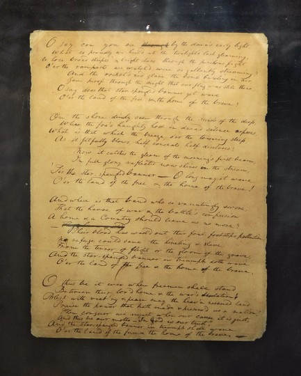 June 1, 2012: Maryland Historical Society mounts the largest display of War of 1812 related artifacts, including the Francis Scott Key's anthem manuscript, pictured, to coincide with the launch of the city's War of 1812 bicentennial celebration. (Kenneth K. Lam/Baltimore Sun)