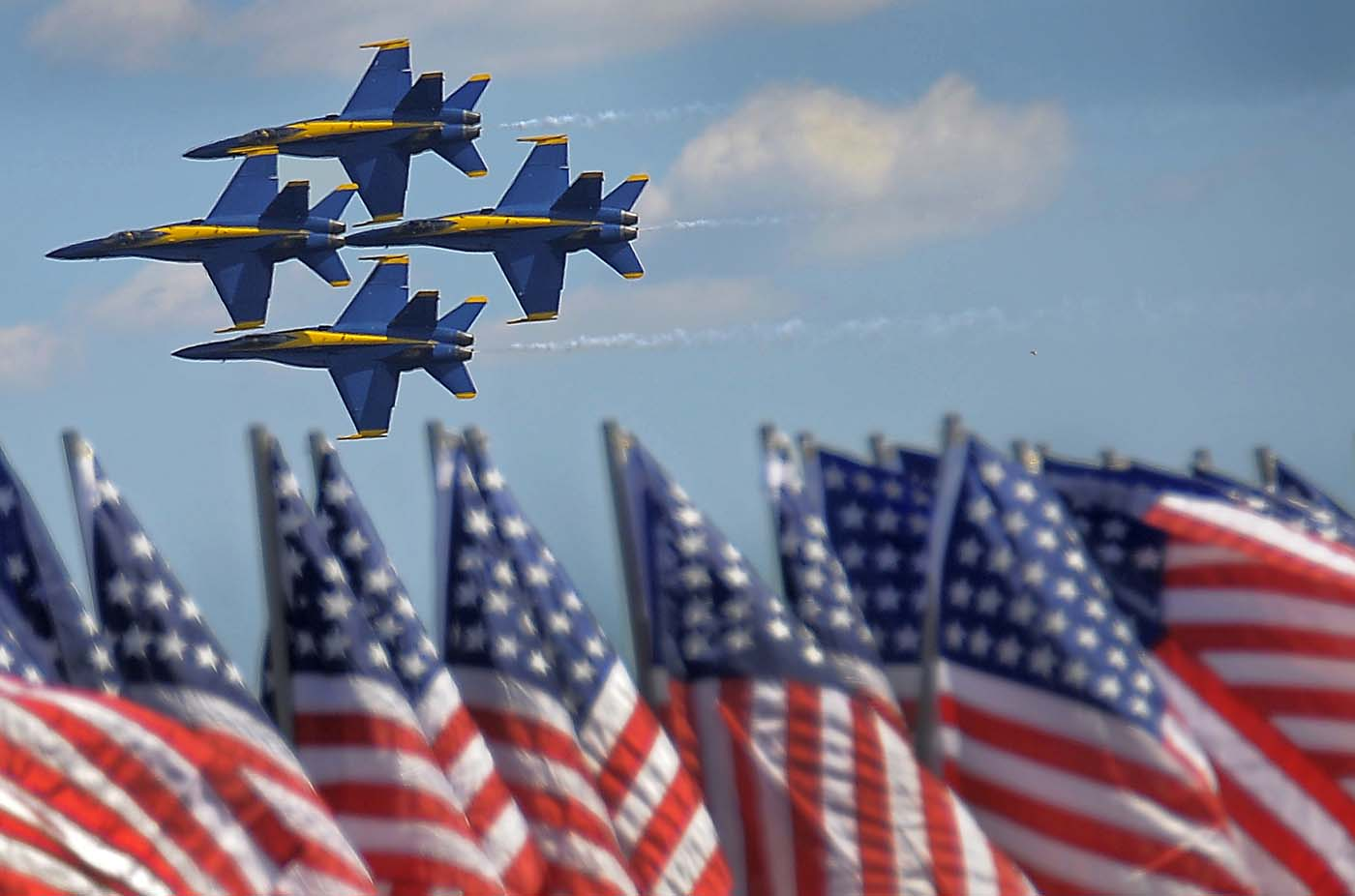 The Blue Angels - Boeing F/A-18 Super Hornet planes - fly in formation past a line of U.S. flags, participating in the air show during the weekend-long Star Spangled Sailabration at Fort McHenry Saturday, Jun 16, 2012. (Karl Merton Ferron/Baltimore Sun)