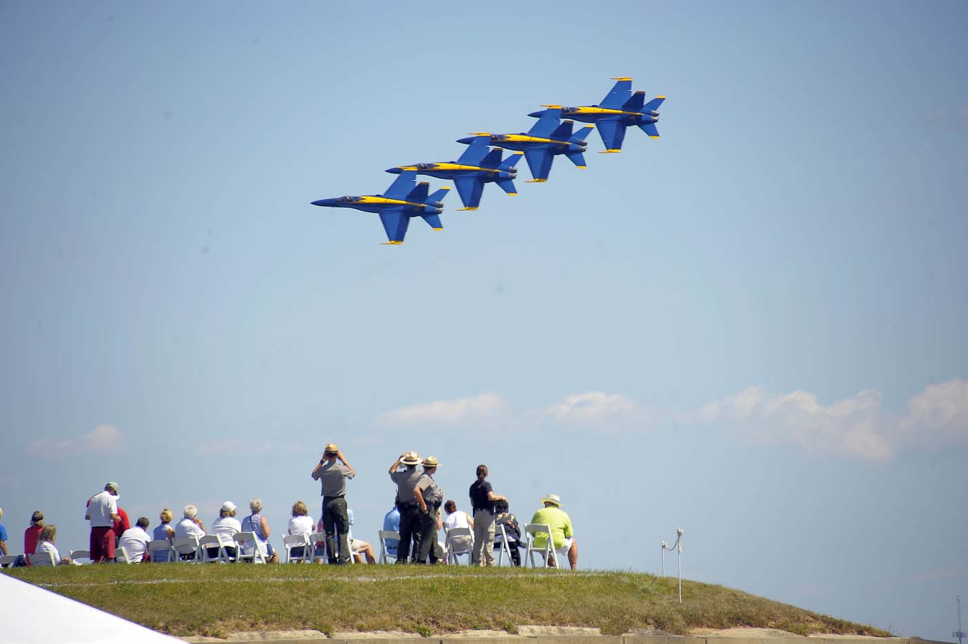 The Blue Angels - Boeing F/A-18 Super Hornet planes - fly in formation past spectators on a bastion of Fort McHenry, participating in the air show during the weekend-long Star Spangled Sailabration 200 Saturday, Jun 16, 2012. (Karl Merton Ferron/Baltimore Sun)