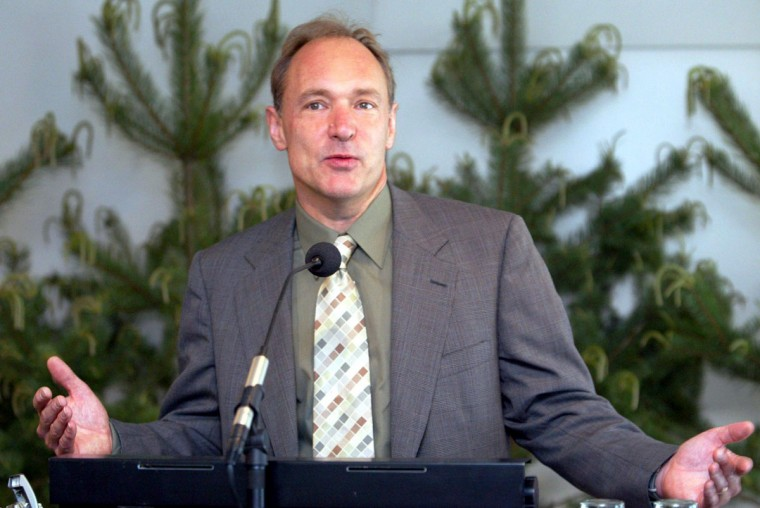 "Tim Berners-Lee, ""Father of the World Wide Web"" – Physicist and laureate Tim Berners-Lee is shown speaking on June 15, 2004 at a press conference in Helsinki after receiving the first ever Millennium Technology Prize, a one million euro prize, rewarding him for creating the World Wide Web (www) service on internet. (Jaakko Avikainen/AFP Photo)"
