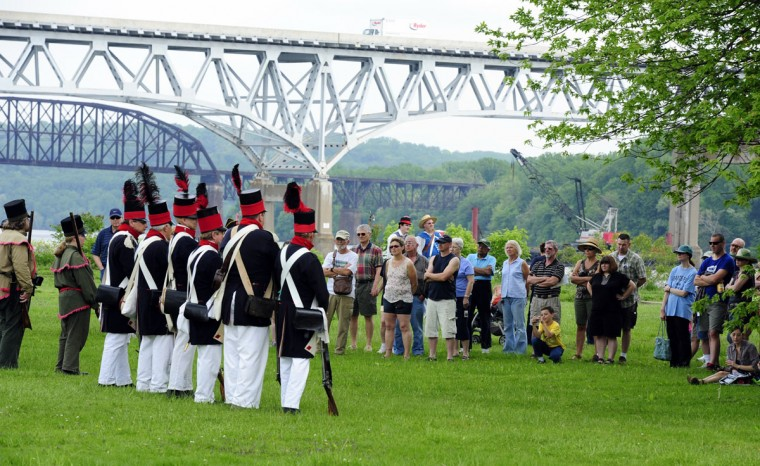 May 5, 2012: Members of the Baltimore United Volunteers and other re-enacters perform marching drills for the crowd gathered on the grounds of the Lock Houe Museum in Havre de Grace for a War of 1812 re-enactment. (Matt Button/Aegis)