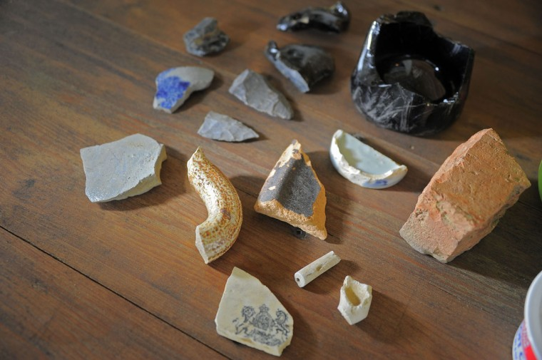 May 16, 2012: Artifacts, including broken pottery, ceramics, and bottles, were discovered at Serenity Farm near the Patuxent River, in Benedict, Maryland, where once British troops gathered during the War of 1812. (Karl Merton Ferron/Baltimore Sun)