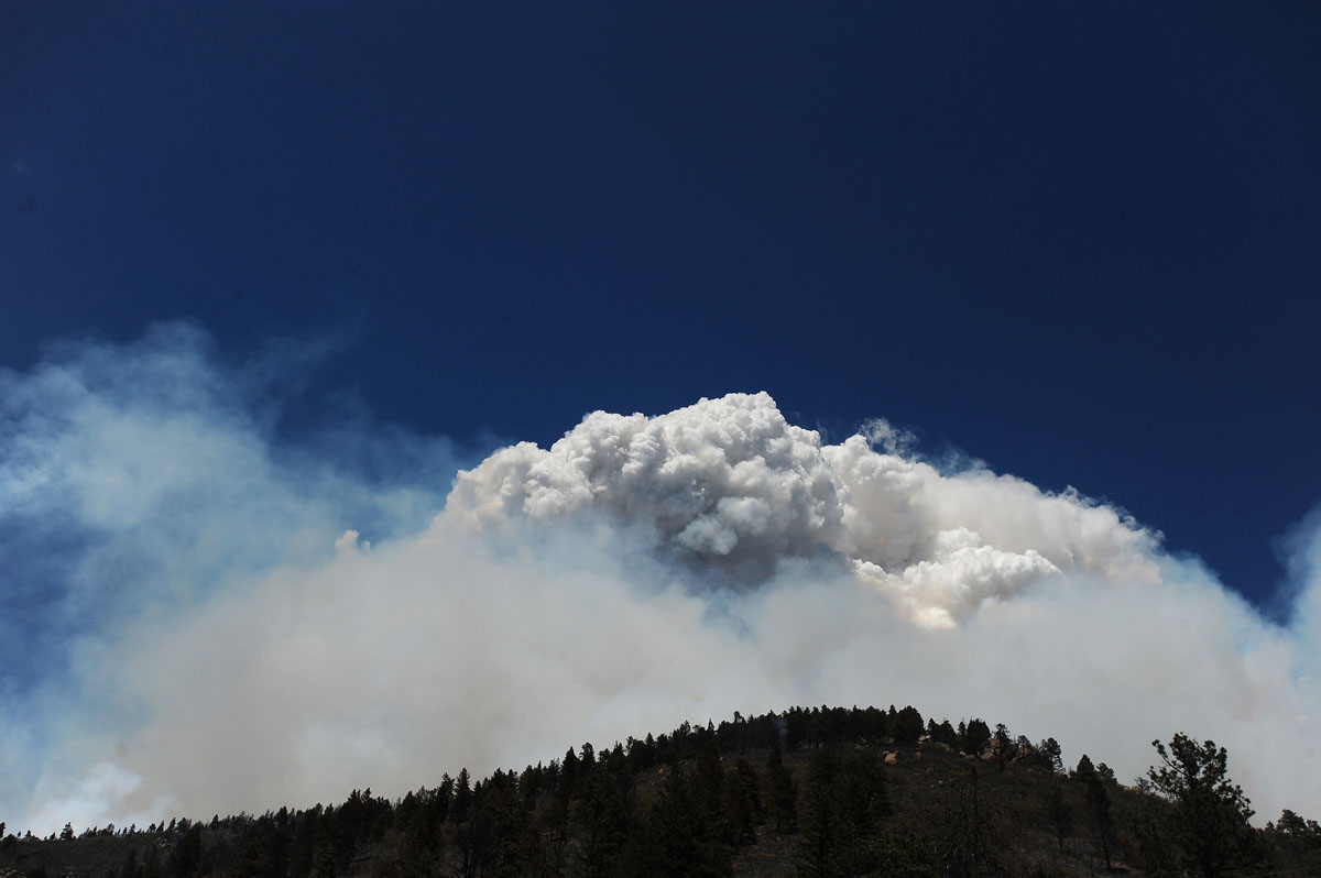 JUNE 26: A pyrocumulus cloud builds over the Waldo Canyon fire near Cascade, Colorado, Tuesday, June 26, 2012. (Christian Murdock/Colorado Springs Gazette/MCT)