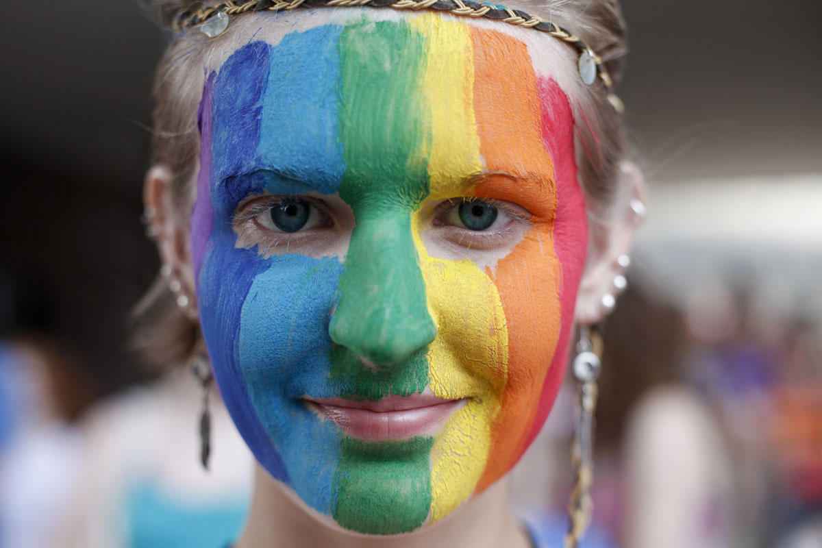 Minneapolis: After traveling from Minnetonka, Minnesota, Rain Morehouse, 16, adds color to the crowd of sideline spectators at the 2012 Ashley Rukes GLBT Pride Parade Sunday, June 24, 2012. (Megan Tan/Minneapolis Star Tribune/MCT)