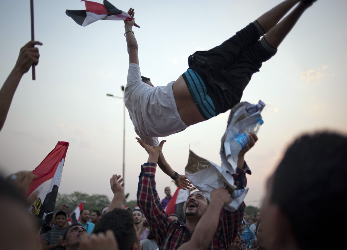 June 23, 2012: Thousands of supporters of Egyptian presidential candidate Ahmed Shafiq, who served as Prime Minister under ousted President Hosni Mubarak, rally in Cairo, Egypt, one day before the election commission was due to announce the official results. (James Lawler Duggan/MCT)