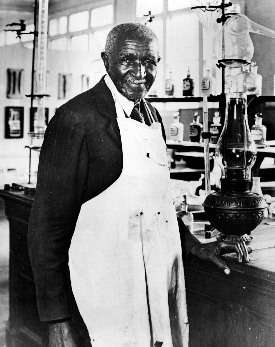"George Washington Carver, ""Father of chemurgy"" – The term ""chemurgy"" describes the production of raw agricultural material into refined industrial products. It was first named by chemist William J. Hale when he published ""The Farm Chemurgic"" in 1934. However, the concept of chemurgy entered the scientific spotlight through the work of George Washington Carver during the years to come. Pictured is Dr. George Washington Carver in his lab at the Tuskegee Institute in Alabama in 1940. (Wide World Photo/file)"