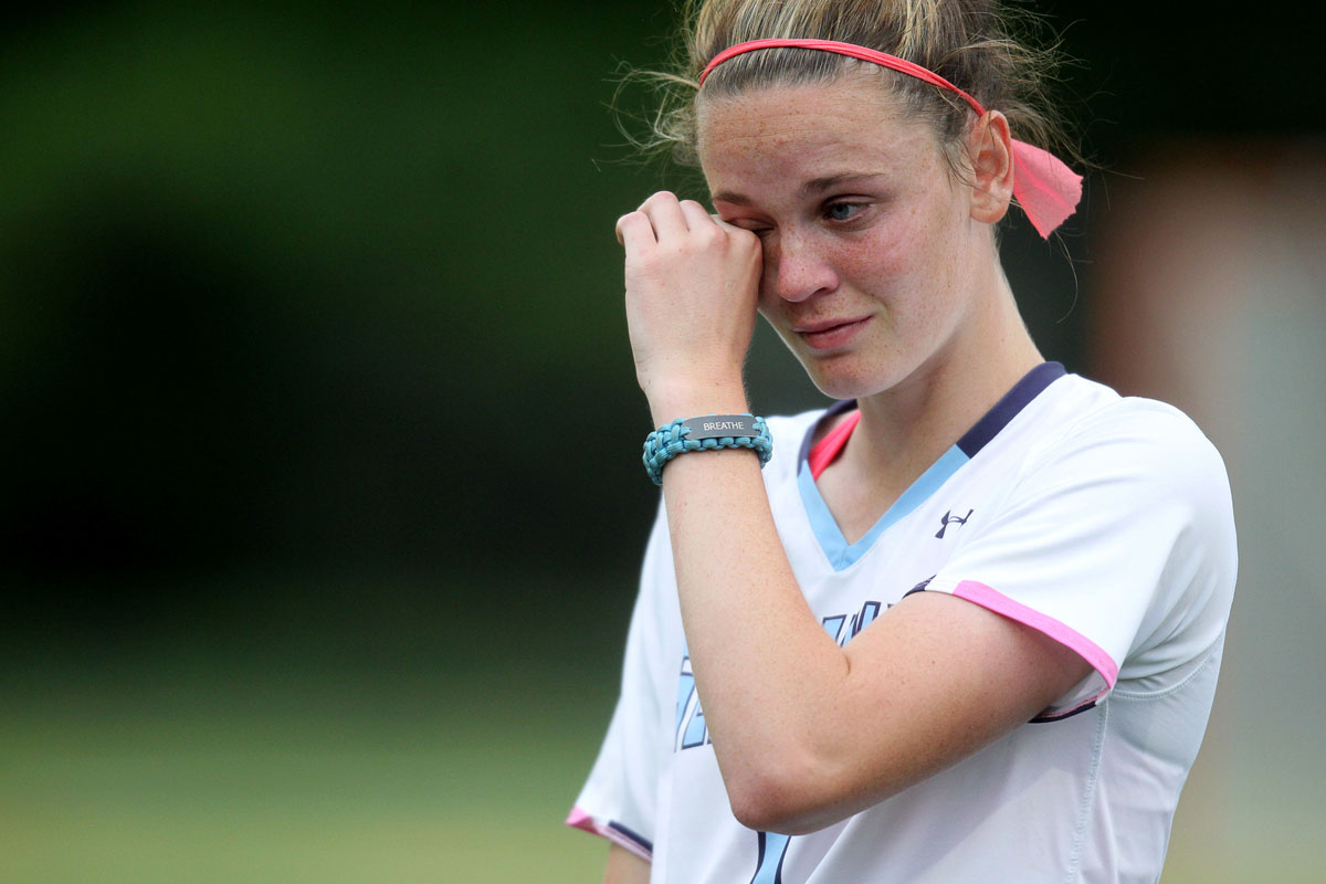 South River's Bella Pyne reacts after loosing to Marriotts Ridge during the girls lacrosse game at South River High School in East Edgewater on Tuesday, May 8, 2012. (Jen Rynda/Patuxent Homestead)