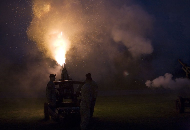 August 26, 2007: Canons fire during the '1812 Overture' during the summer concert by the United States Army Field Band and Soldiers' Chorus on Devers Lawn at Fort Meade. (Annie Agnone/Patuxent Publishing)