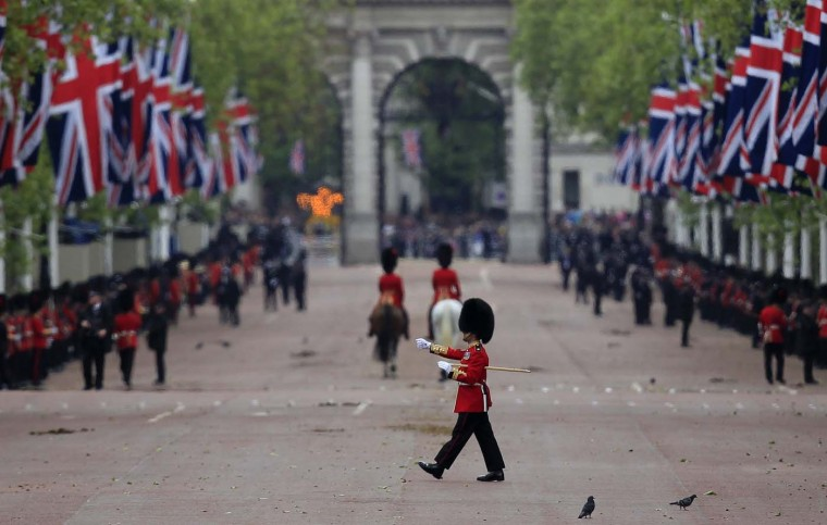 A Guardsmen marches across The Mall as Britain's Queen Elizabeth attends a Diamond Jubilee service at St. Paul's Cathedral in central London June 5, 2012. (Cathal McNaughton/Reuters)