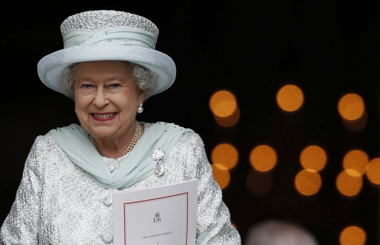 Britain's Queen Elizabeth smiles as she leaves St. Paul's Cathedral after a service to mark her Diamond Jubilee in central London June 5, 2012. (Andrew Winning/Reuters)