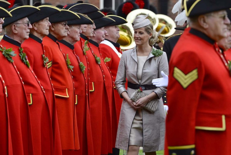 Britain's Sophie, Countess of Wessex, inspects Chelsea pensioners as they participate in the annual Founder's Day parade at the Royal Hospital in Chelsea, London. (Miguel Medina/Getty Images)
