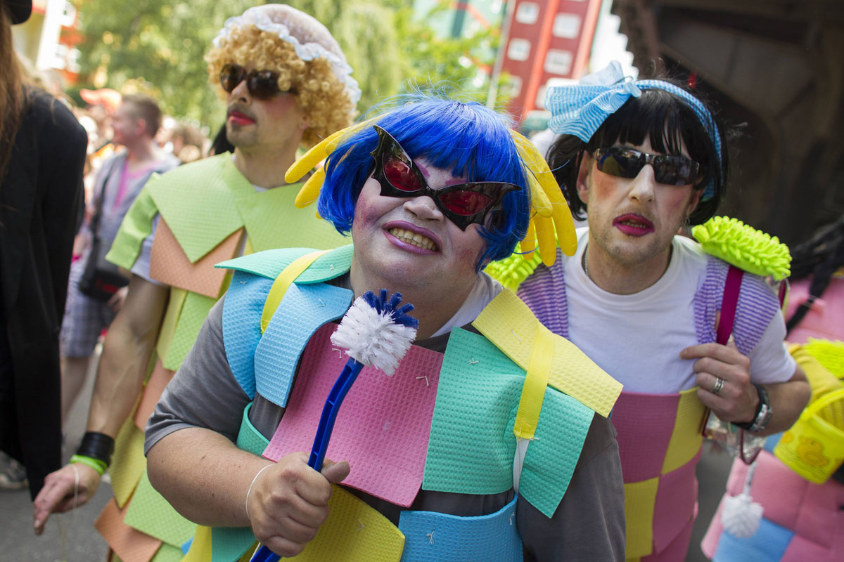 Berlin: Revelers pose during the Christopher Street Day parade June 23, 2012. The annual street parade parade is a celebration of lesbian, gay, bisexual, and transgender lifestyles and denounces discrimination and exclusion. (Thomas Peter/Reuters)