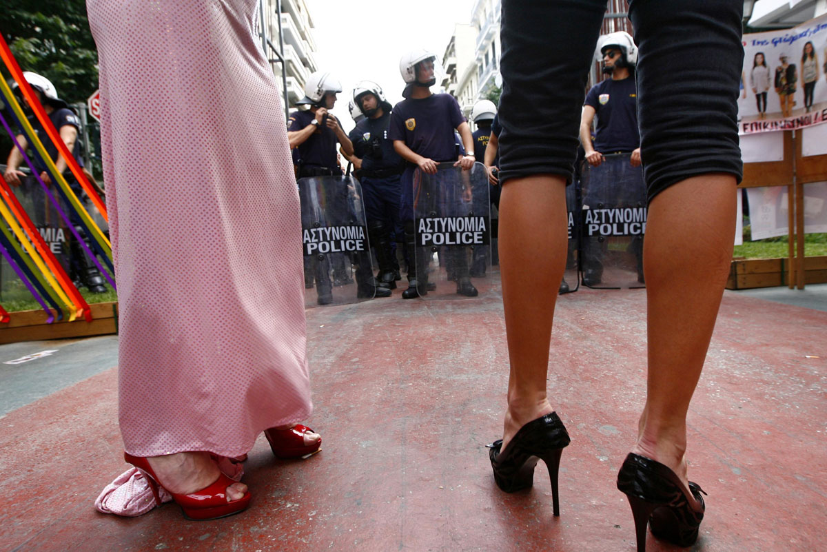 Thessaloniki: Participants stand in front of a police formation during a gay parade in northern Greece June 23, 2012. Several protesters against the parade, which took place for the first time in the city, gathered in an attempt to block the event from happening. (Grigoris Siamidis/Reuters)