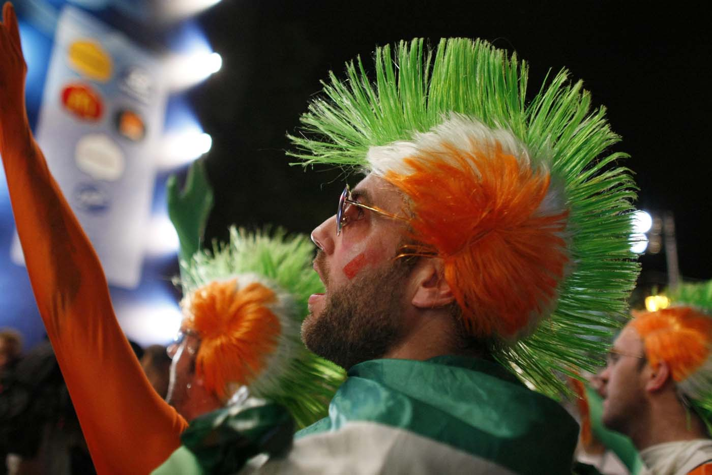 An Irish supporter reacts as he watches the Euro 2012 soccer match between Italy and Ireland at a fan zone in Poznan June 18, 2012. (Kacper Pempel/Reuters)