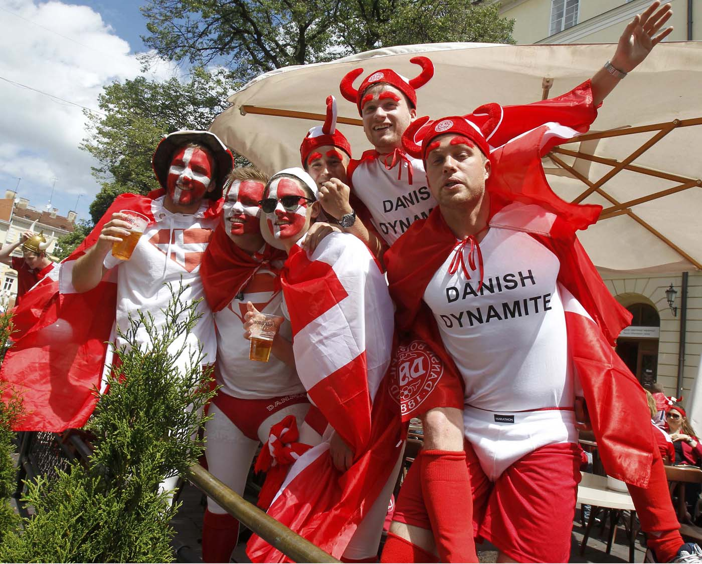 Denmark soccer fans drink beer and sing in Lviv June 13, 2012. Denmark will play match of the Euro 2012 soccer championships against Portugal in Lviv. (Gleb Garanich/Reuters)