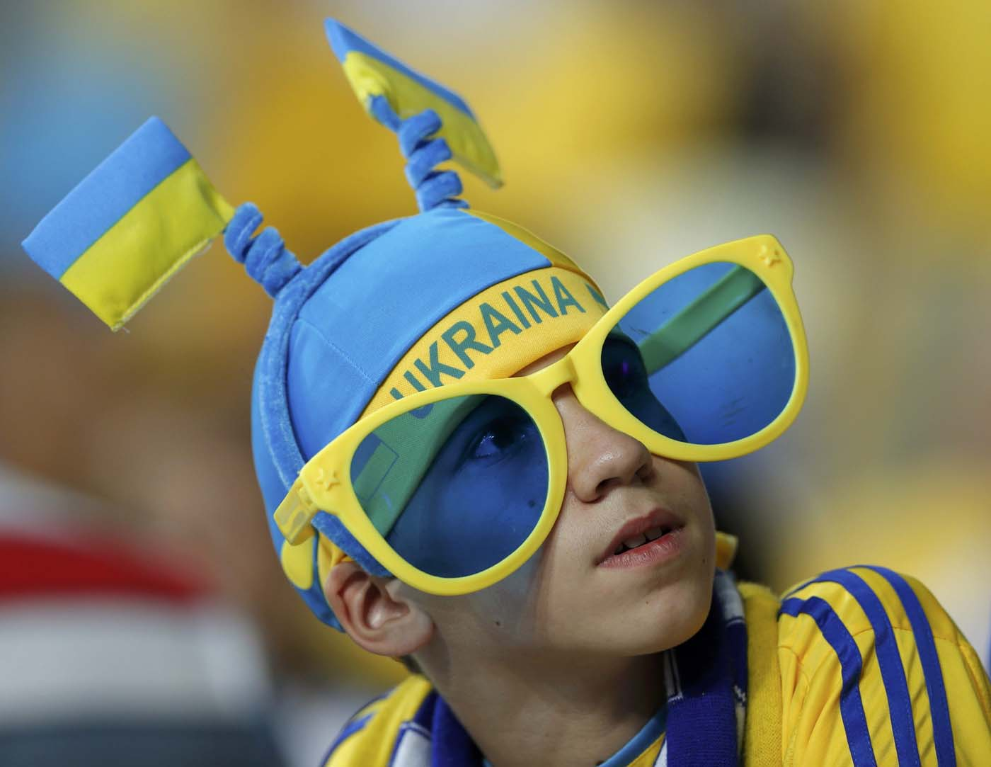 A Sweden's soccer fan cheers before the start of their Group D Euro 2012 soccer match against Ukraine at the Olympic stadium in Kiev, June 11, 2012. (Darren Staples/Reuters)