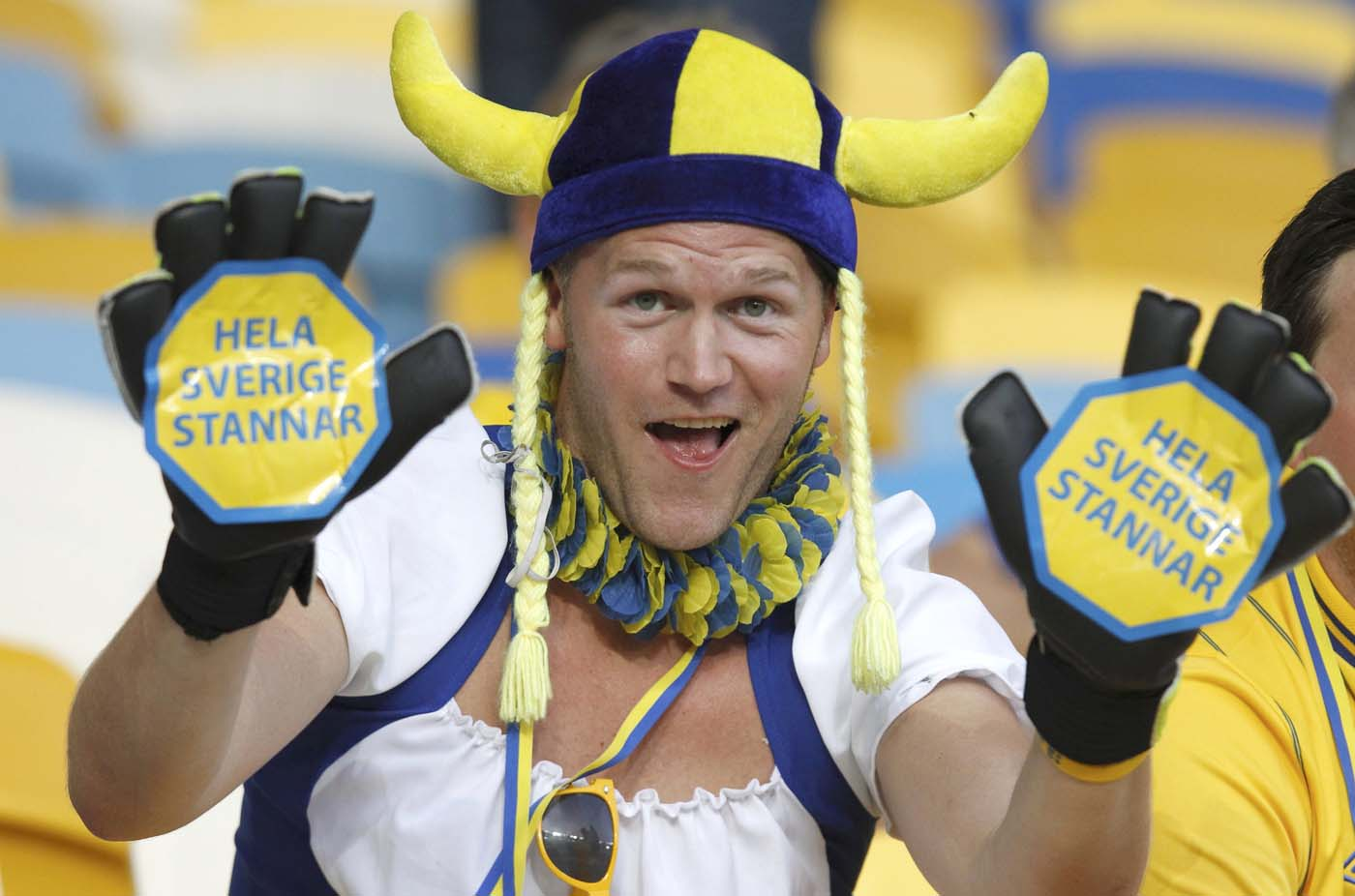 Sweden's soccer fan cheers before their Group D Euro 2012 soccer match against Ukraine at the Olympic stadium in Kiev, June 11, 2012. (Alexander Demianchuk/Reuters)