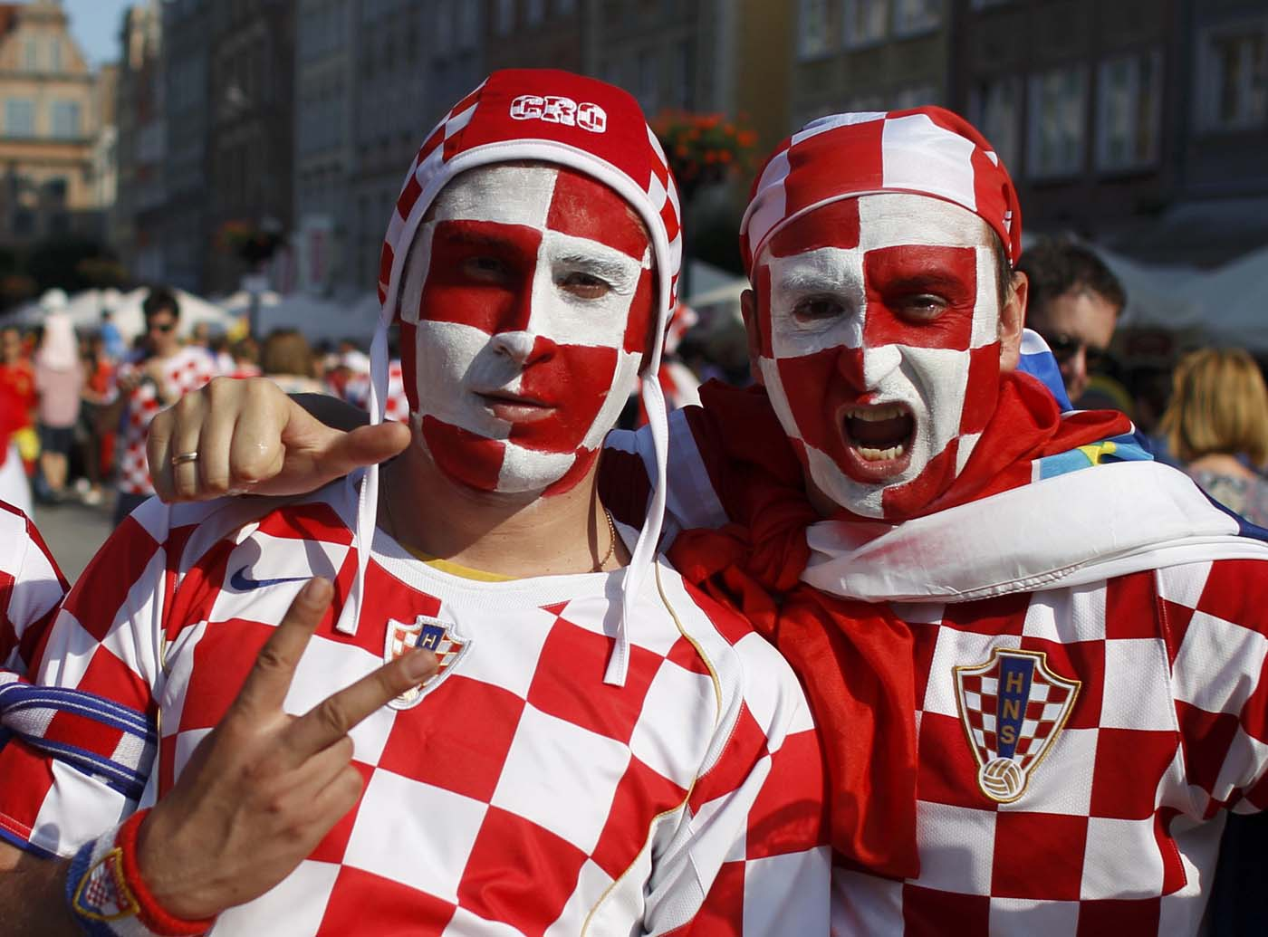 Croatian fans cheer before Euro 2012 soccer match against Spain in the Old Town of Gdansk June 18, 2012. (Peter Andrews/Reuters)
