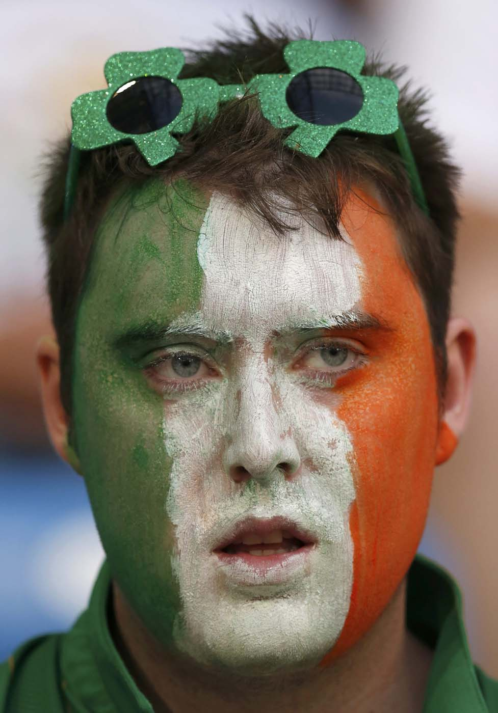 An Irish supporter cheers before their Group C Euro 2012 soccer match between Italy and Ireland at the city stadium in Poznan, June 18, 2012. (Petr Josek/Reuters)
