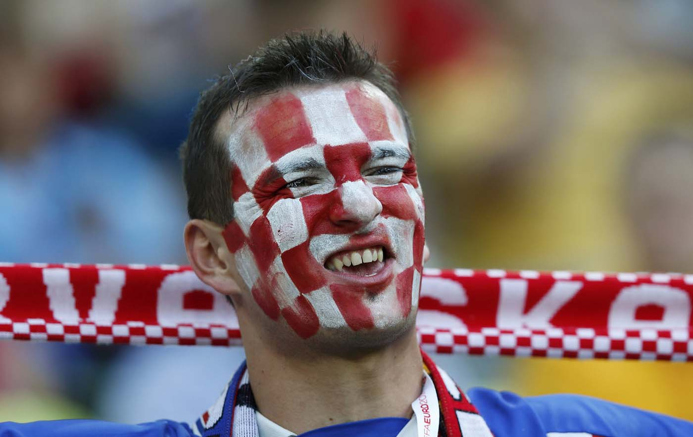 A fan of Croatia cheers before their Group C Euro 2012 soccer match against Spain at the PGE Arena in Gdansk June 18, 2012. (Thomas Bohlen/Reuters)