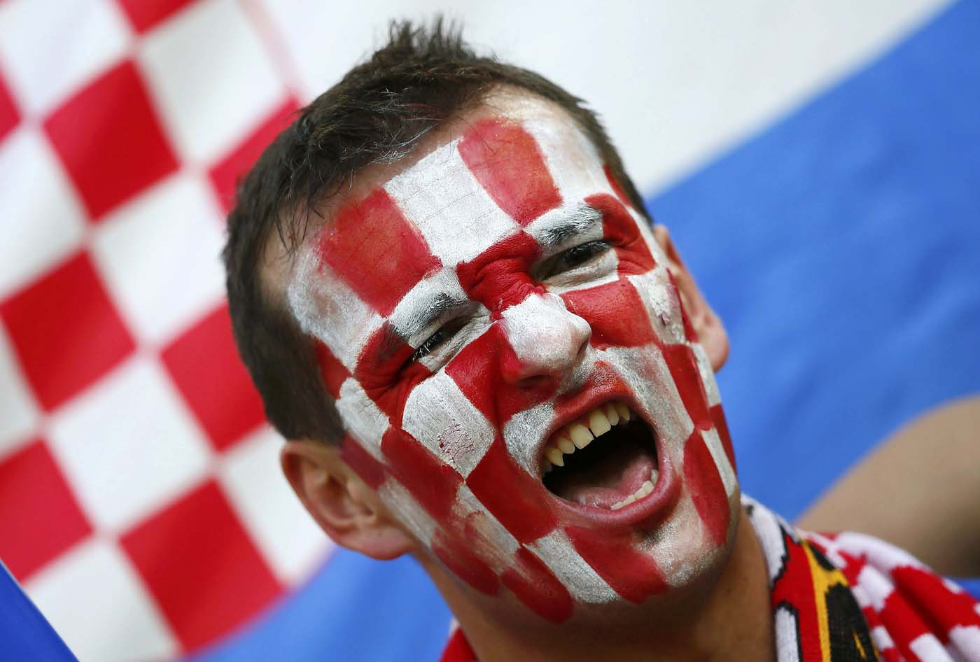 A fan of Croatia cheers before their Group C Euro 2012 soccer match against Spain at the PGE Arena in Gdansk June 18, 2012. (Kai Pfaffenbach/Reuters)