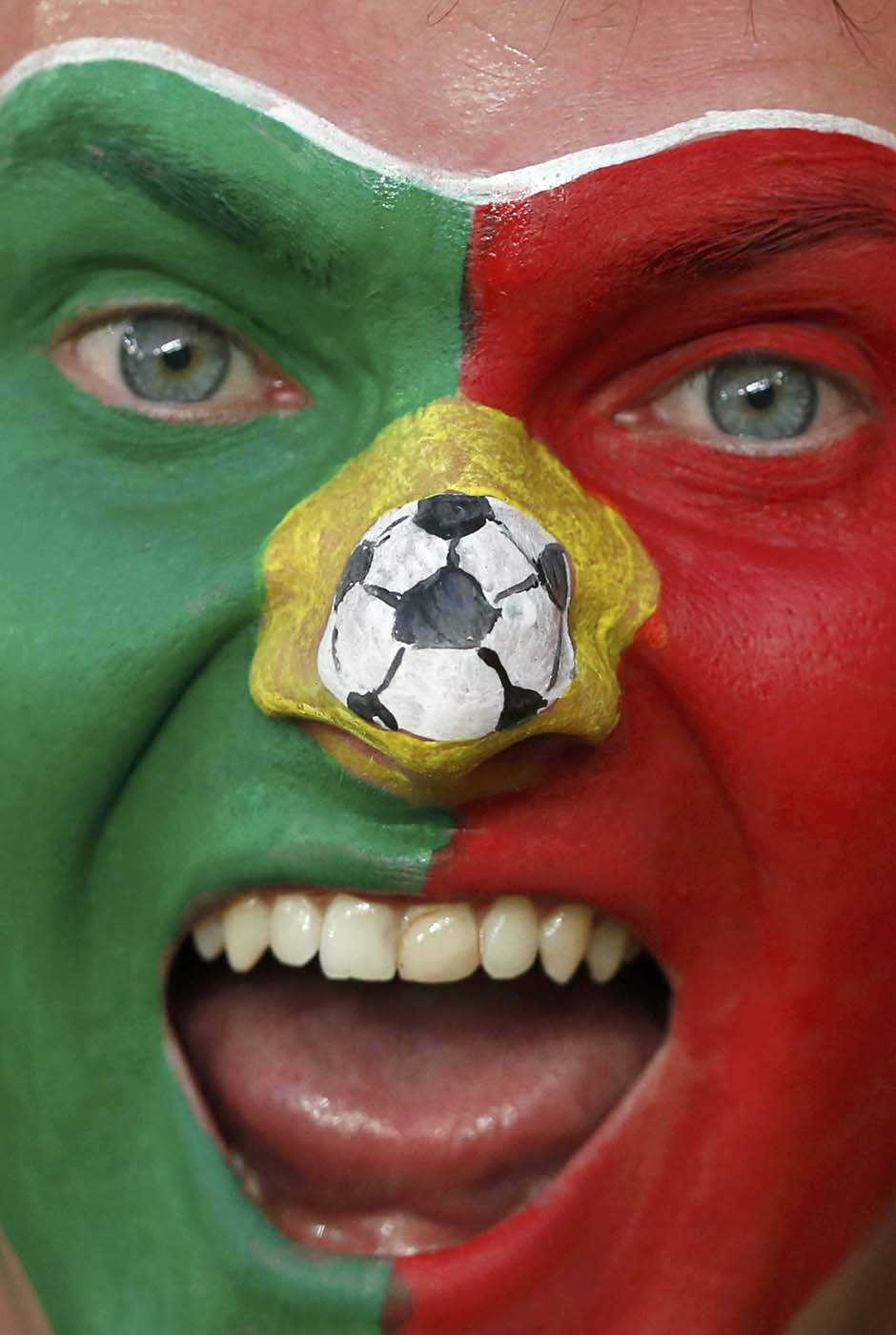 A Portuguese soccer fan with face painted in national flag colours smiles before their Group B Euro 2012 soccer match against Netherlands at the Metalist stadium in Kharkiv, June 17, 2012. (Alessandro Bianchi/Reuters)