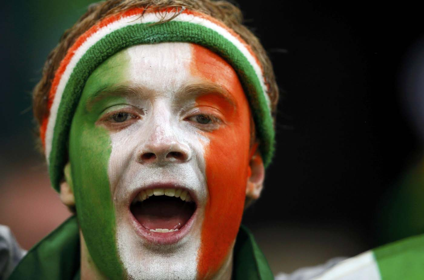 Irish soccer fan cheers before their Group C Euro 2012 soccer match against Spain at PGE Arena in Gdansk, June 14, 2012. (Kai Pfaffenbach/Reuters)