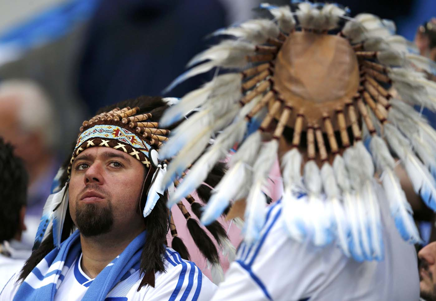 Greece's fan looks dejected after the Group A Euro 2012 soccer match against Czech Republic at city stadium in Wroclaw, June 12, 2012. (Petr Josek/Reuters)
