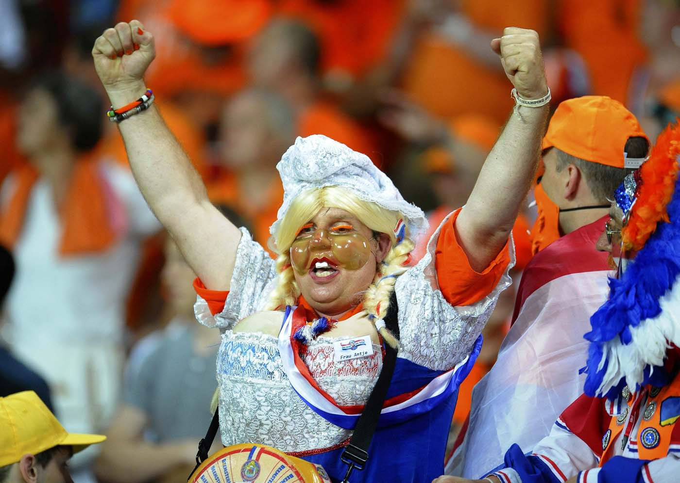 A Netherlands' fan cheers before their Group B Euro 2012 soccer match against Germany at the Metalist stadium in Kharkiv June 13, 2012. (Felix Ordonez/Reuters)