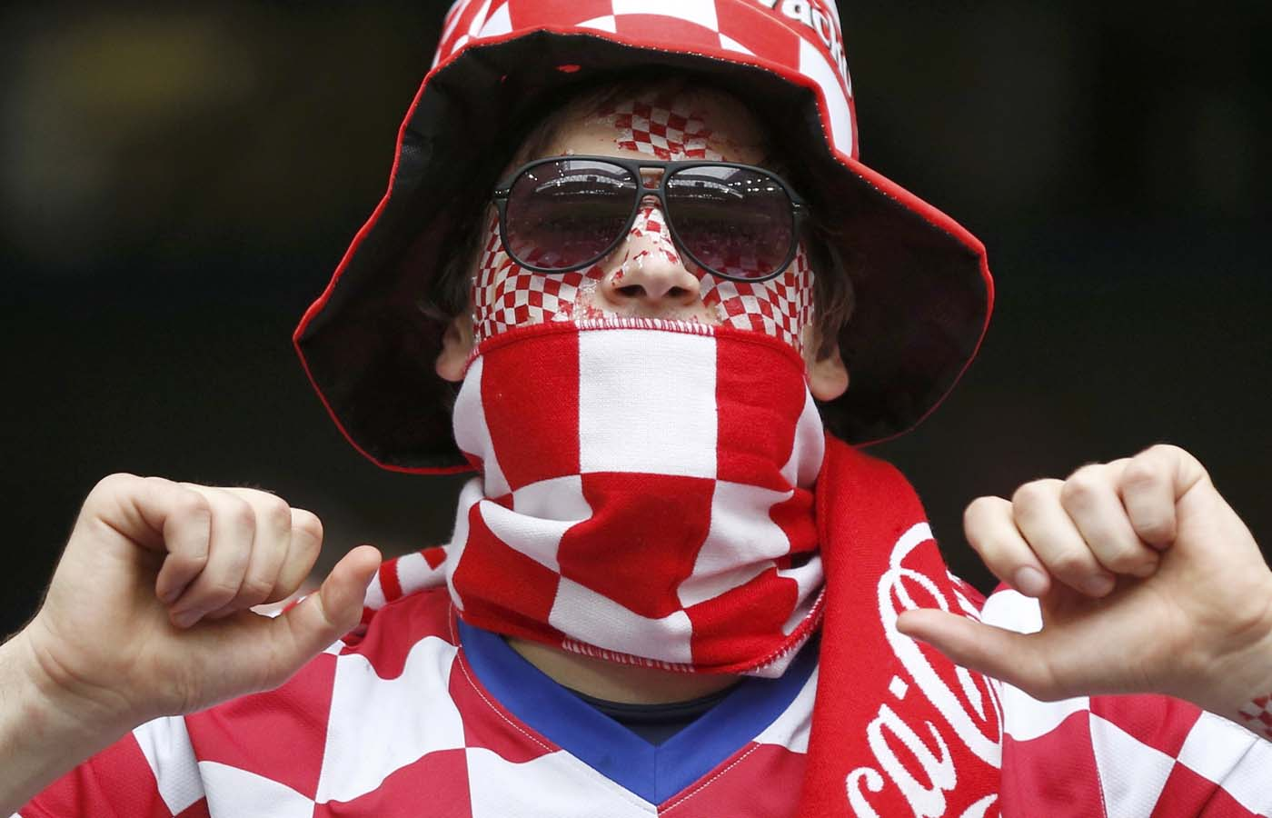 A Croatian supporter cheers before their Group C Euro 2012 soccer match against Italy at the city stadium in Poznan, June 14, 2012. (Petr Josek/Reuters)